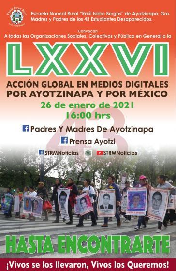 Plakat der kommenden Protestaktion am 26.Januar 2021