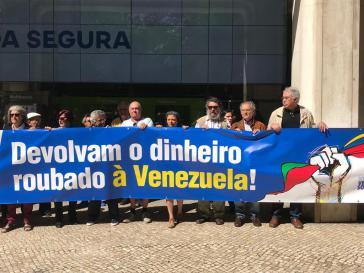 Protestaktion vor dem Hauptsitz der Novo Banco in Lissabon (Juni 2019)
