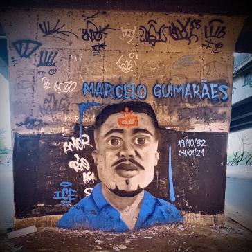 Wandbild in Erinnerung an den am Montag ermordeten Marcelo Guimarães