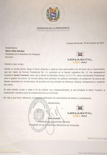 Mit diesem Schreiben soll Guaidó Troconis beim Präsidenten von Paraguay, Abdo Benítez, vorgestellt haben
