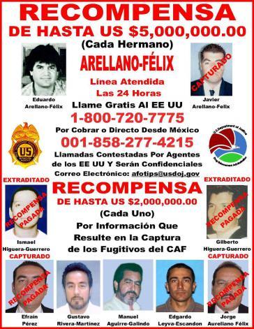 Eduardo Arellano Félix (oben links) baute einst gemeinsam mit seinen Brüdern das Tijuana-Kartell auf