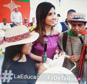 Ministerin María Víctoria Angulo informierte im Februar 2020 über die Übereinkunft zur Finanzierung der indigenen Universität