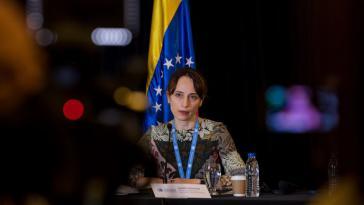 Übt scharfe Kritik an Sanktionen: UN-Sonderberichterstatterin Alena Douhan bei ihrer Pressekonferenz in Caracas am 12. Februar