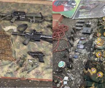 In Lagern mutmaßlicher Farc-Ep-Dissidenten in Venezuela aufgefundene Waffen und Uniformen