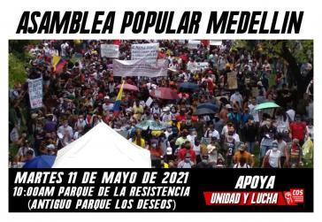 Ankündigung von Volsversammlung in Medellín
