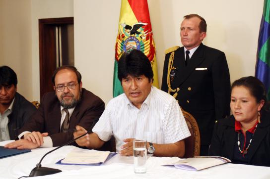 Präsident Evo Morales auf der Pressekonferenz