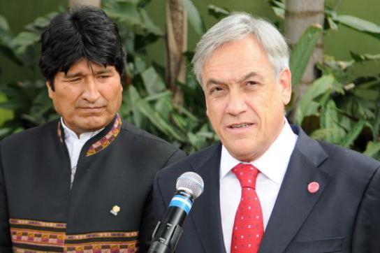 Evo Morales und Sebastian Piñera am Rande des Mercosur-Gipfels