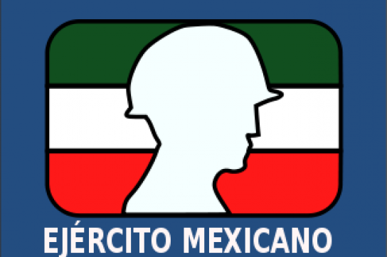 Emblem der mexikanischen Armee: Umriss eines Soldaten vor der Landesfahne