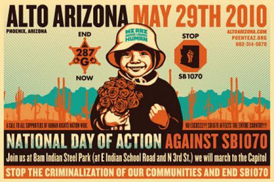 Flugblatt für eine Protestaktion gegen das Gesetz SB1070