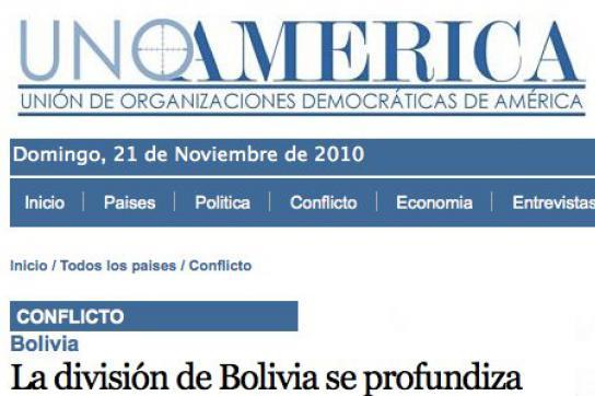 Internetseite von UnoAmérica