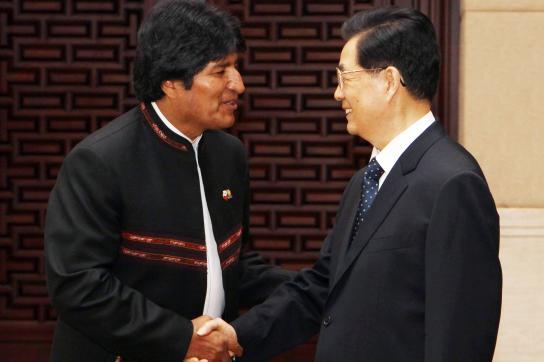 Evo Morales und Hu Jintao
