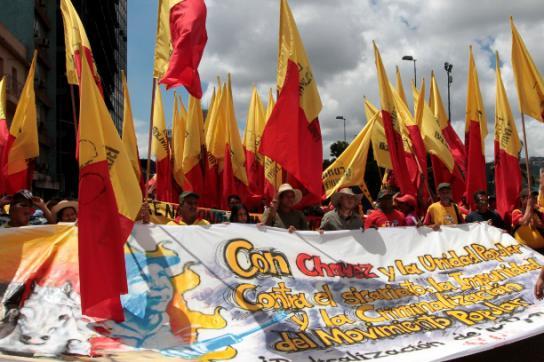 """Szene auf der Demonstration mit Transparent: """"Chávez und Einheit des Volkes""""."""