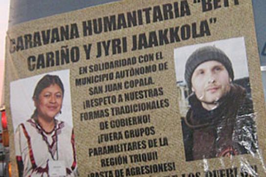Gedenken an die Mordopfer Beatriz Cariño und Jyri Antero Jaakkola