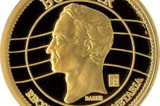 Goldmünze mit Simón Bolívar