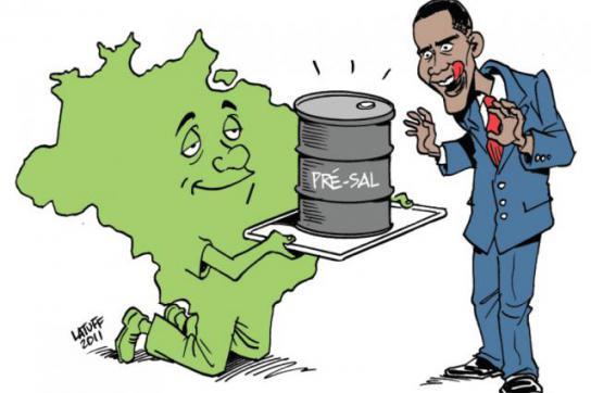 Karikatur zeigt Obama, der versucht, auf das brasilianische Erdöl zuzugreifen