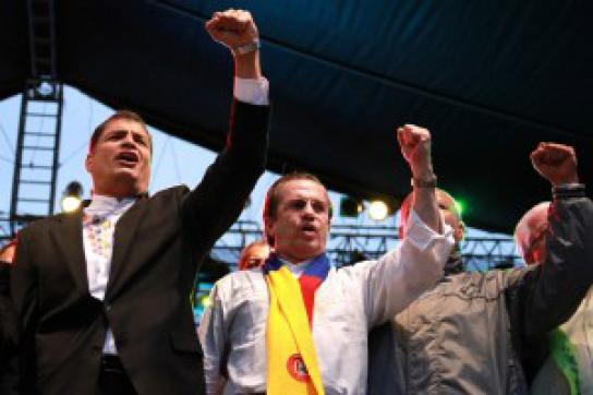 Correa bei der Kundgebung