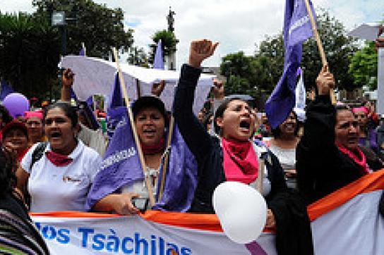Frauen protestieren am 16. März