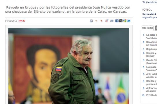 """Mujica mit """"chavistischer"""" Jacke"""