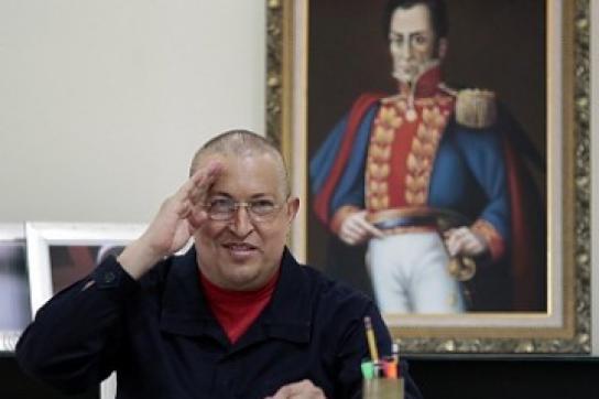 Hugo Chávez im Präsidentenpalast Miraflores