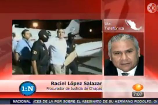 TV-Bericht von der Festnahme Pablo Salazars