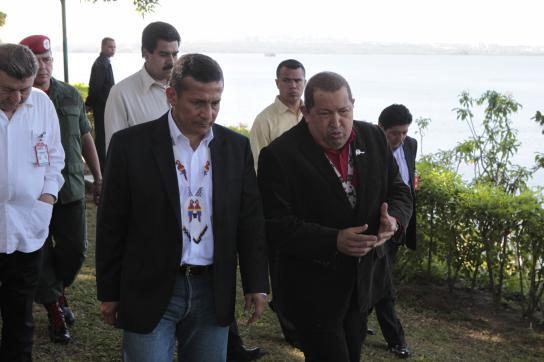 Chavez und Humala am Orinoco