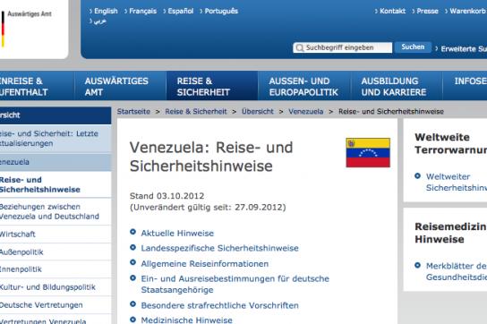 Venezuela-Seite des Auswärtigen Amtes