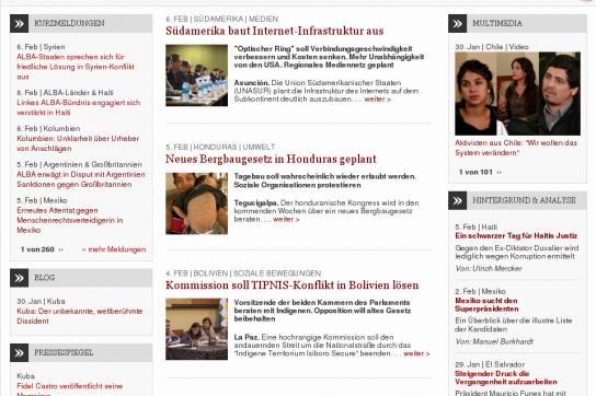 Bildschirmkopie der Startseite von amerika21.de