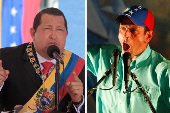 Die beiden Konkurrenten: Hugo Chávez und Henrique Capriles