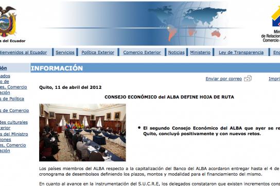 Mitteilung des Außenministeriums von Ecuador