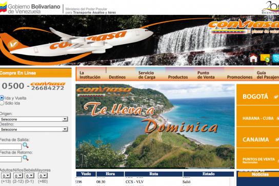Internetseite der CONVIASA