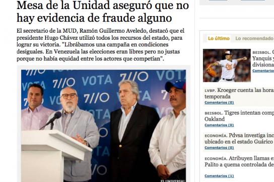 Bildschirmfoto El Universal
