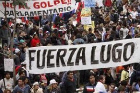 Lugo, halte durch! - Plakat auf einer Demonstration nach dem Putsch