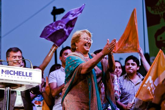 Michelle Bachelet nach ihrem Wahlsieg am 15. Dezember