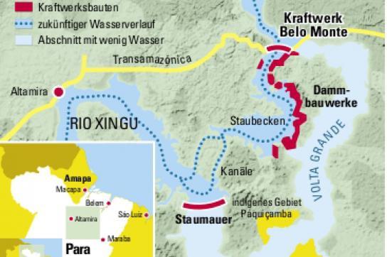 Karte von Staudamm Belo Monte mit Volta Grande