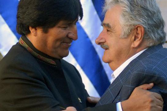 José Mujica und Evo Morales in Montevideo