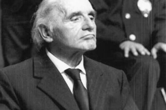 Klaus Barbie 1987 in Lyon vor Gericht