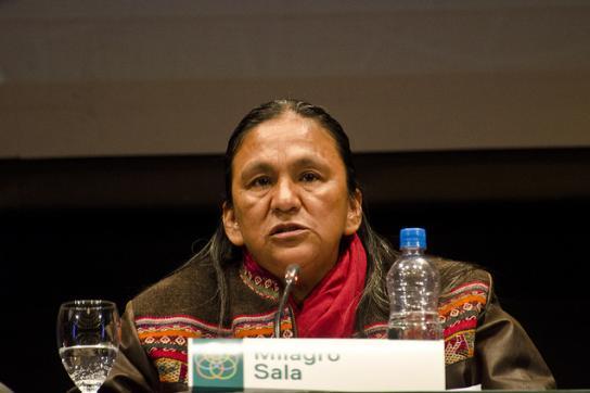 Milagro Sala, hier 2015 auf einem Forum des Kulturministeriums von Argentinien