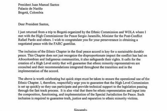 Brief der Delegation aus den USA in Kolumbien