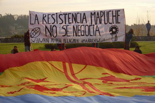 Protestaktion von Mitgliedern der Mapuche in Chile