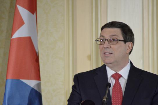 Kubas Außenminister Bruno Rodríguez bei der Pressekonferenz in Wien