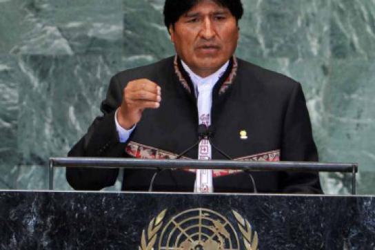 Präsident von Bolivien, Evo Morales, bei einer Rede vor den Vereinten Nationen