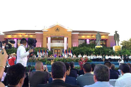 Staatsakt auf dem Platz der Revolution in Managua, Nicaragua