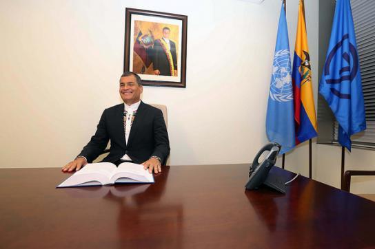 Ecuadors Präsident Rafael Correa im Büro der G77 bei der UNO in New York