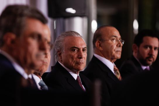 De-Facto Präsident Temer bei einem Treffen mit den Gouverneuren in Brasilien am
