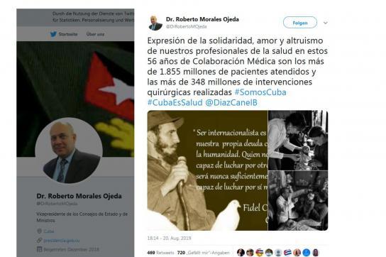 Twitterpost Dr. Roberto Morales Ojeda