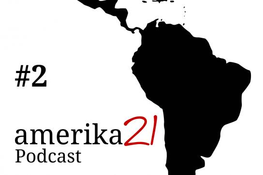 Logo des Podcasts mit Karte von Lateinamerika