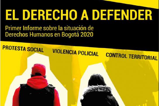 """Cover des Berichts mit Titel """"El Derecho A Defender"""" und zwei Personen von hinten"""